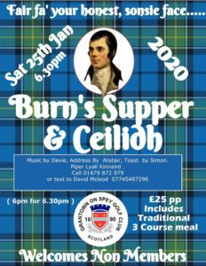 burns supper, grantown golf club