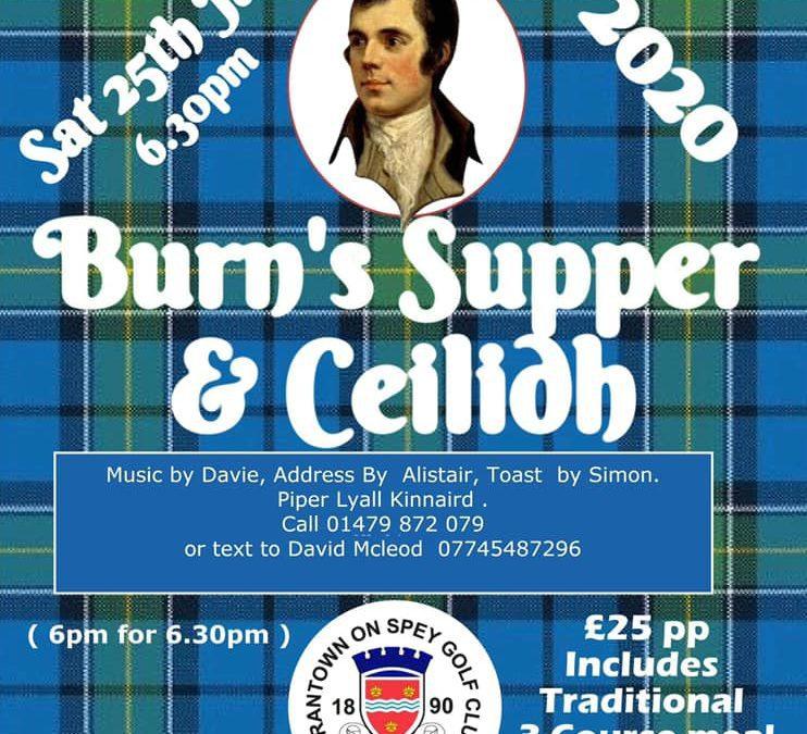 Burns Supper & Ceilidh – Golf Club